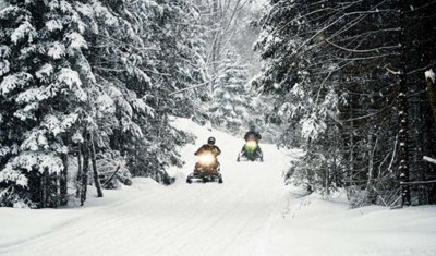 Snowmobile riding in the Winter